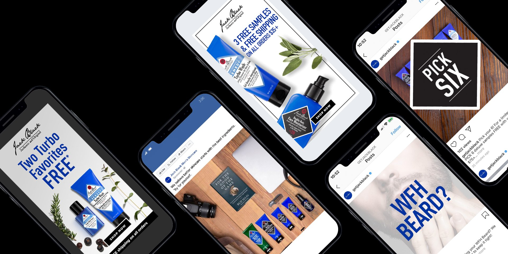 flat lay of phones with jack black skincare ads on them