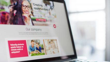 website landing page design on laptop screen