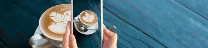 Taking a photo of coffee cup with phone