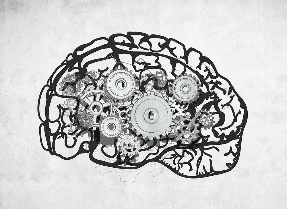 b&w illustration of brain with gears inside