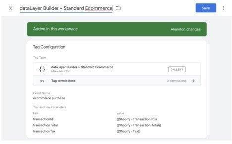 standard google ecommerce custom template