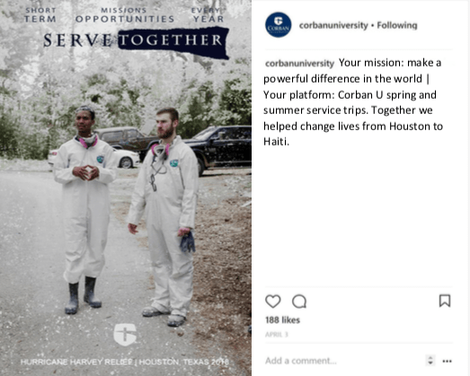 corban university instagram post make a difference