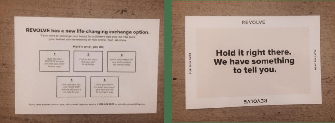 Revolve postcard front and back