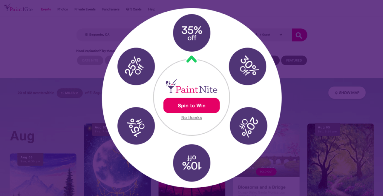 PaintNite spin wheel to win