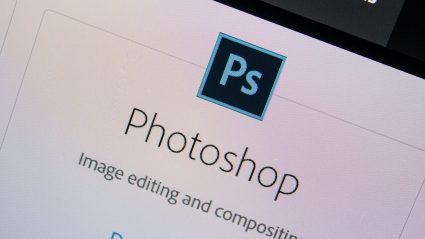 Close up of computer screen with photoshop logo