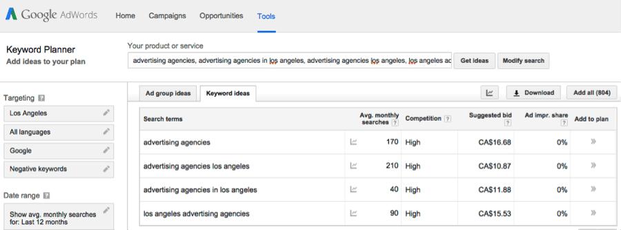 Google AdWords Tools tab