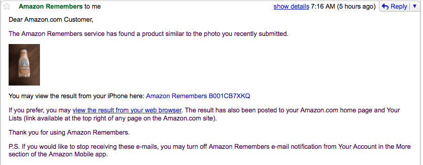 Amazon Remembers Email Of Similar Products