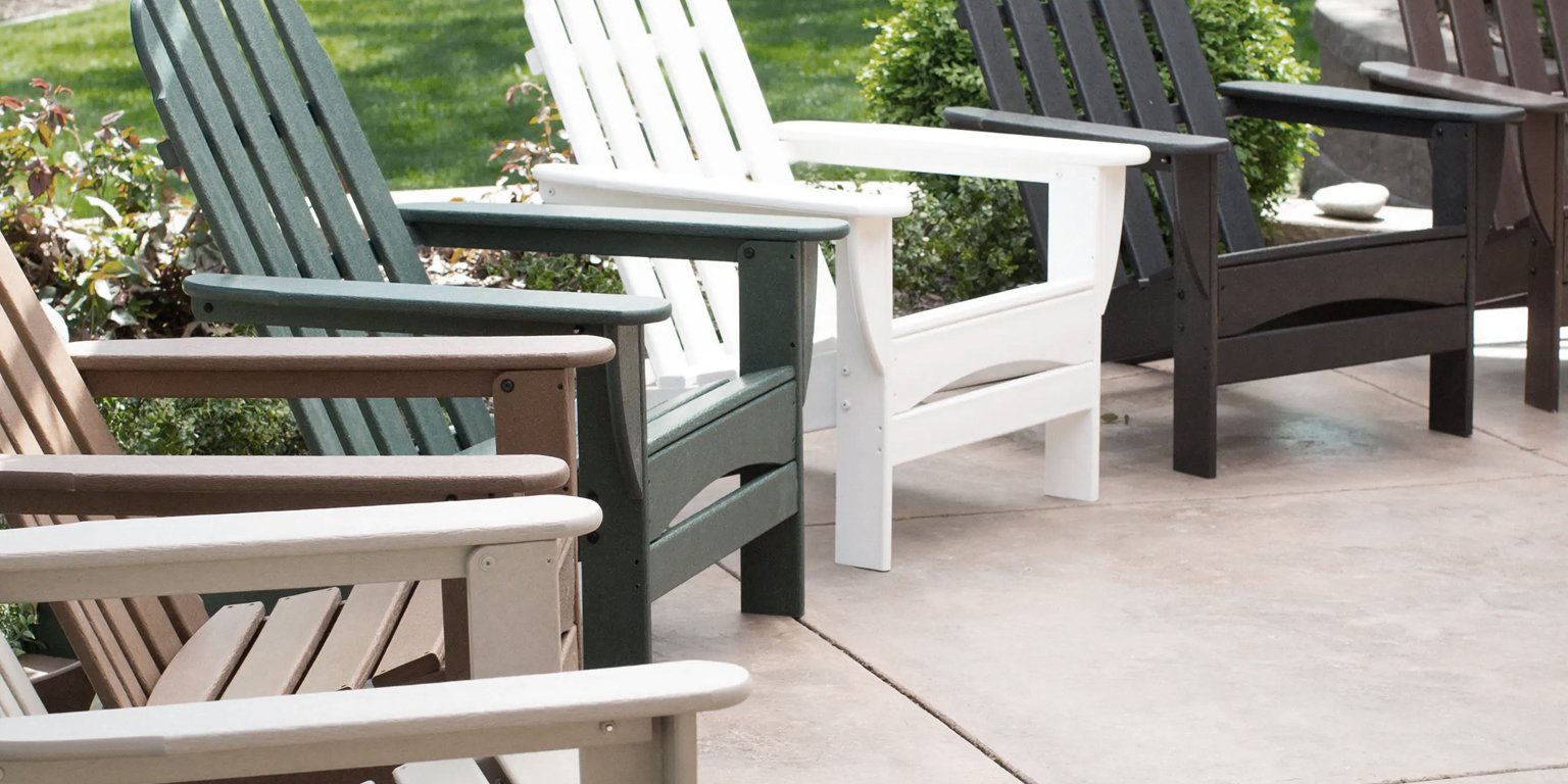 polywood chairs in a row