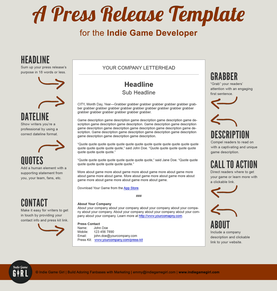 Example Of A Press Release Template Geared Towards The Gaming Community
