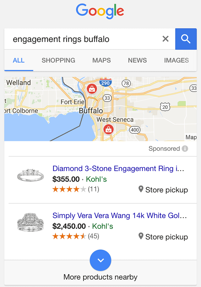 Google search results page on mobile