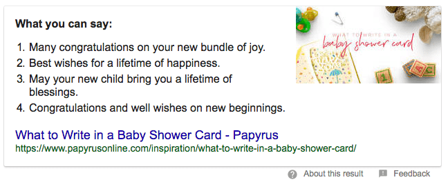 Google results for writing in a greeting card