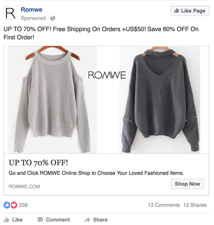 Romwe product sponsored ad