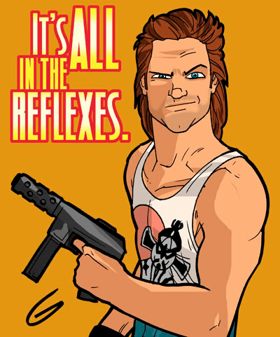 Cartoon of guy with gun and muscles