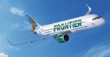 Frontier Airlines plane flying through the sky