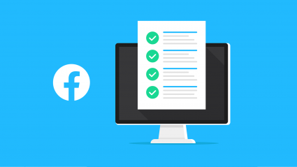 Facebook logo next to illustration of computer and checklist