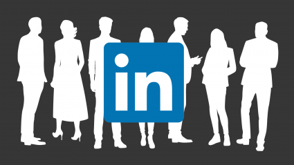 LinkedIn logo with silhouettes of people standing and talking in the background