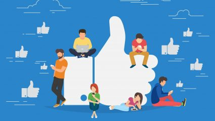 illustration of people on facebook with thumbs up icons blue background