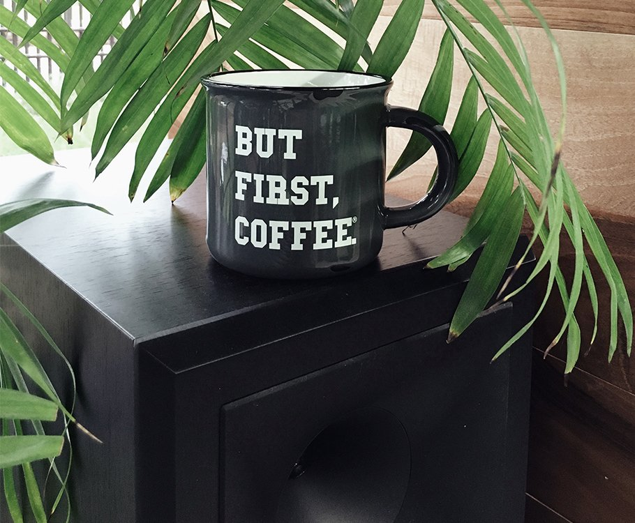 Coffee mug that says