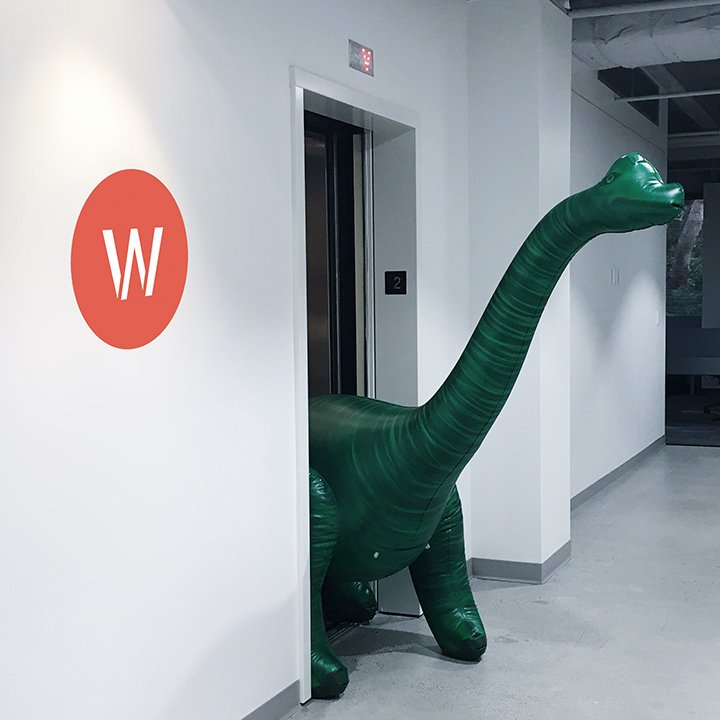 Dinosaur walking out of elevator