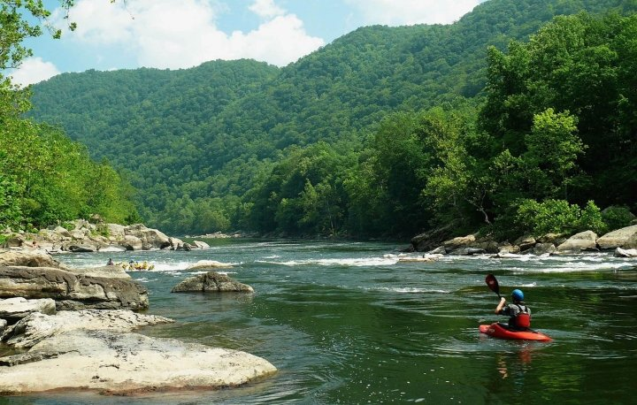 Canoeing through beautiful scenery