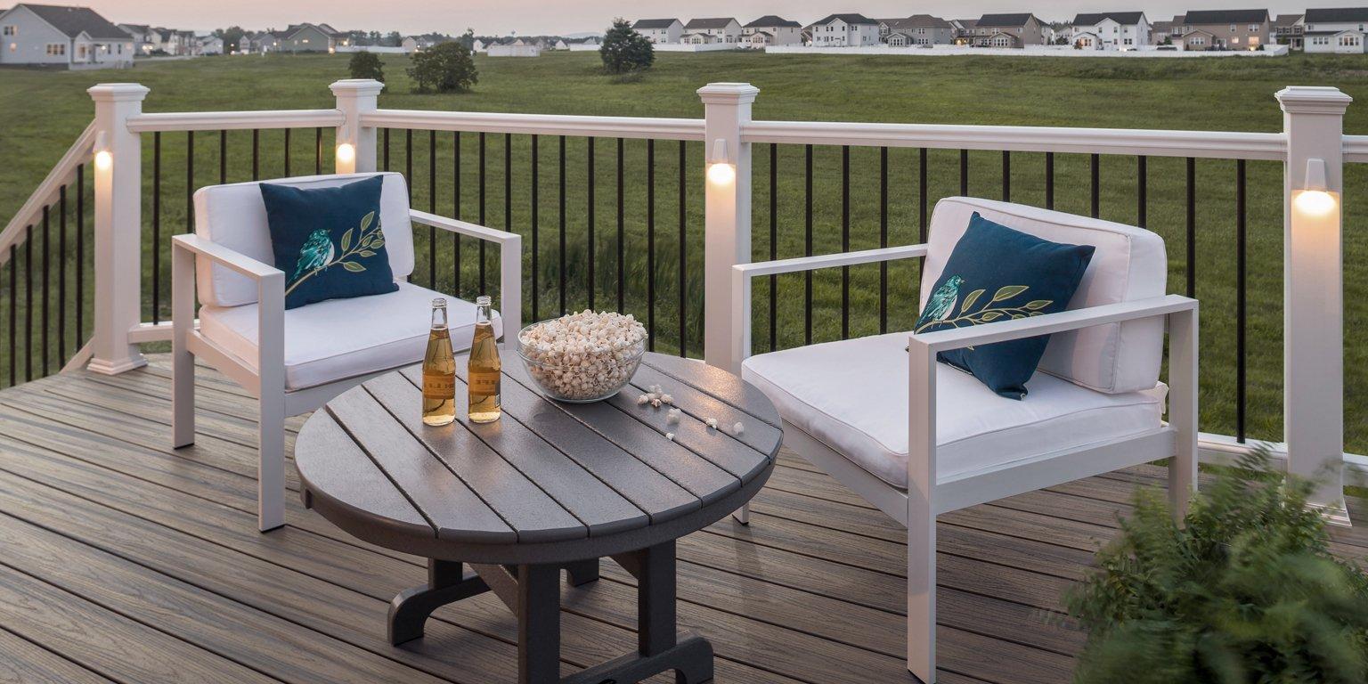 trex patio set on deck at sunset