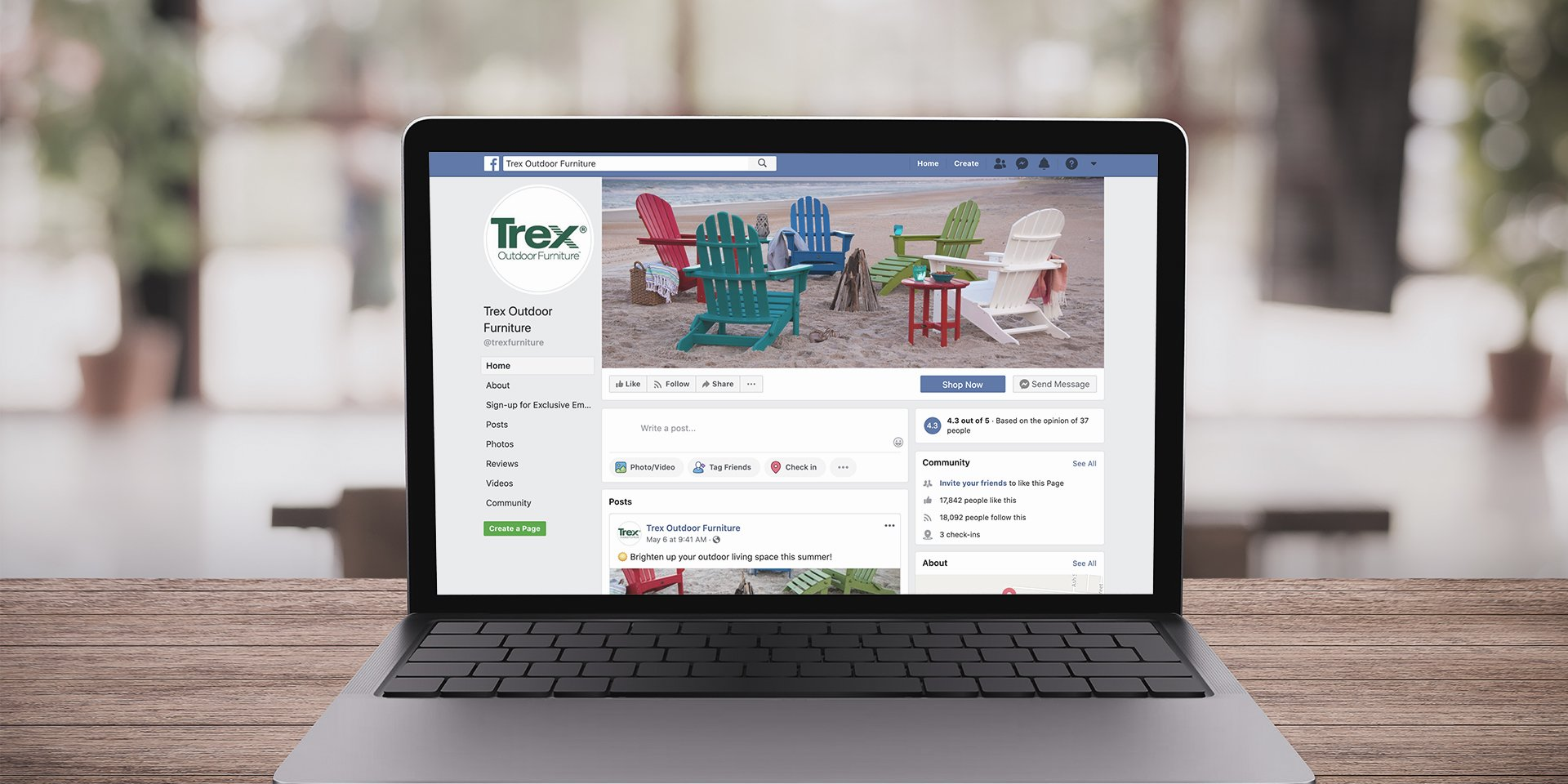 trex facebook page on laptop outside