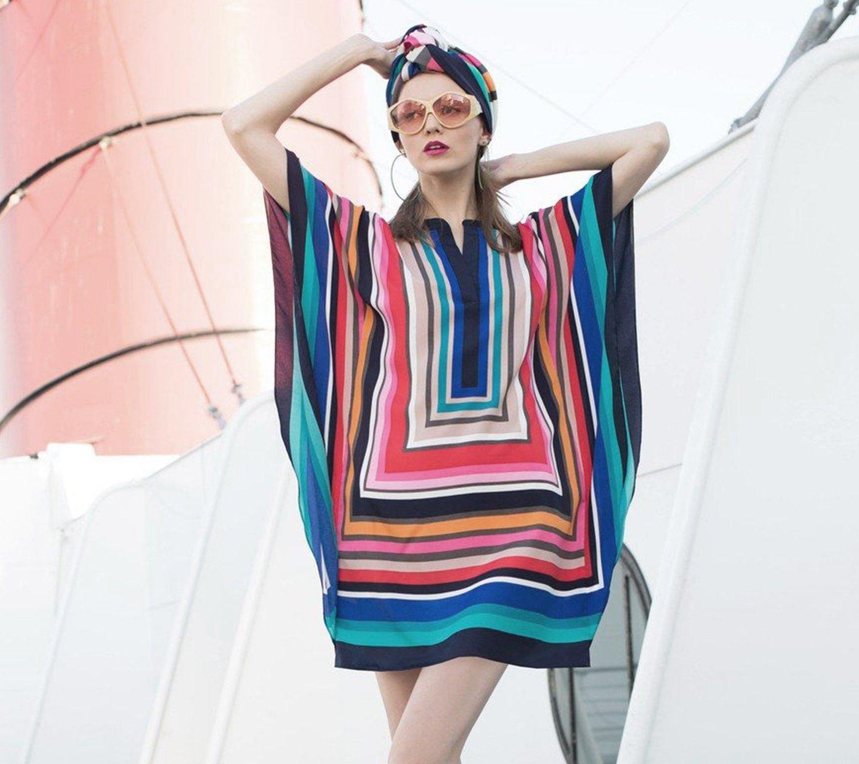 Woman wearing Trina Turk dress