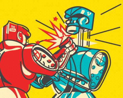 illustration of vintage robots fighting