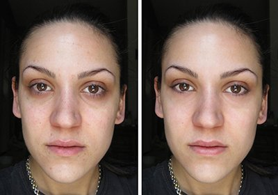 Face of woman before and after photoshop retouching