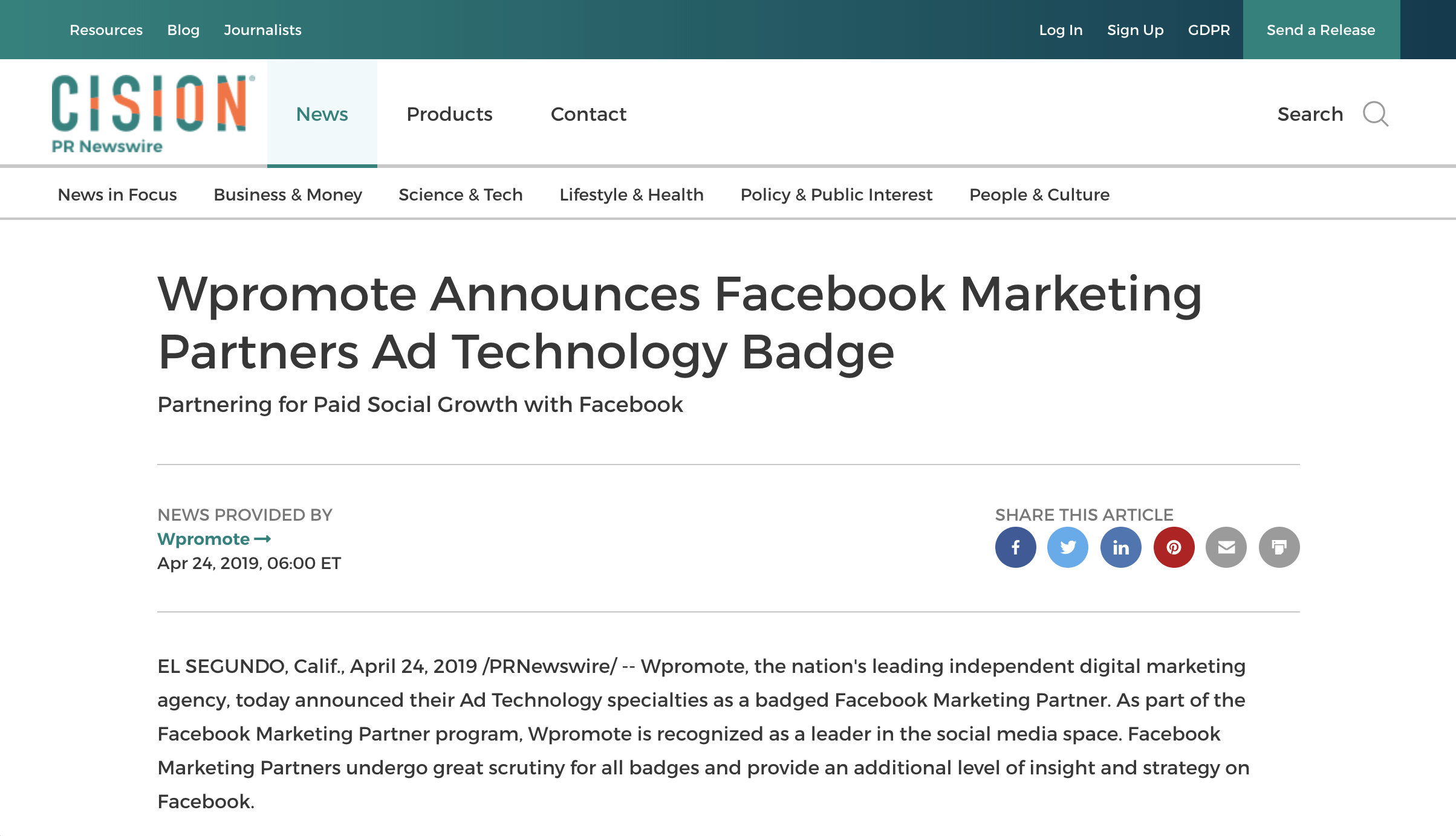 Wpromote's press release regarding the announcement of becoming a Facebook Marketing Partner.
