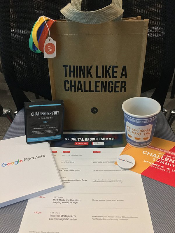Swag supplied by Wpromote & Google at the Digital Growth Summit.