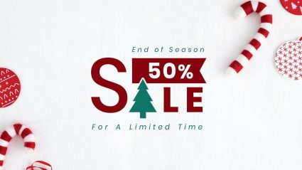 which background with candy canes with holiday 50% off graphic
