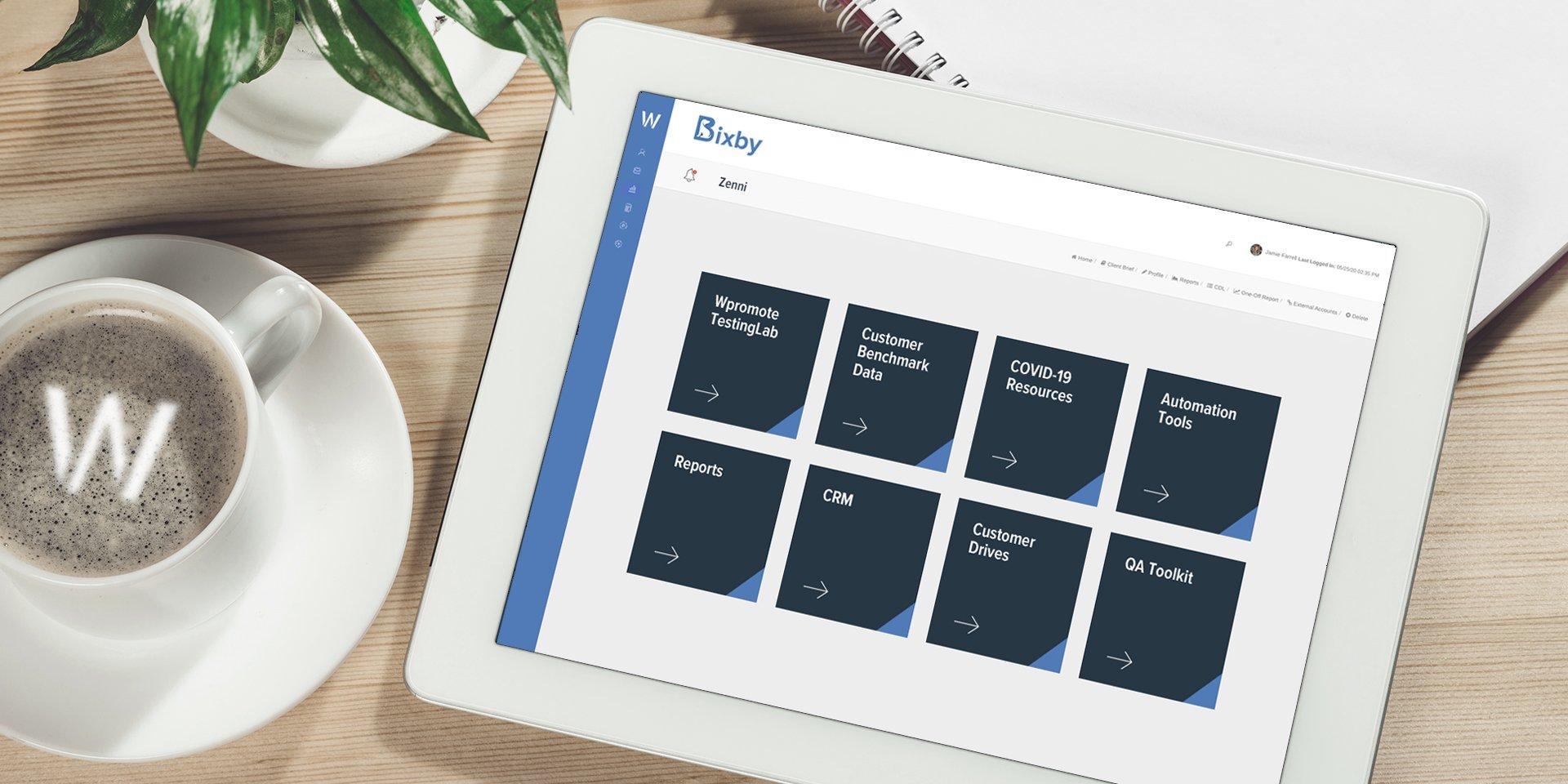 iPad screen with Bixby dashboard