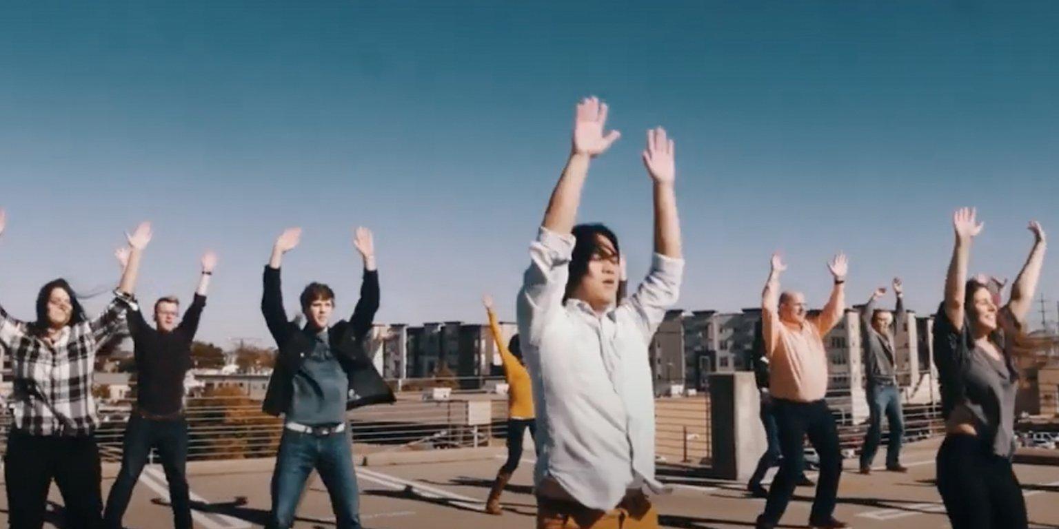 People dancing on rooftop