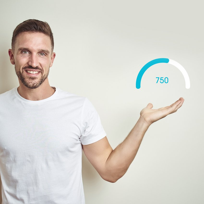 Man holding hand up with credit score