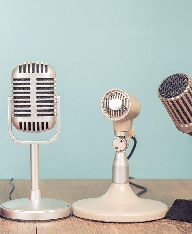 group of vintage microphones