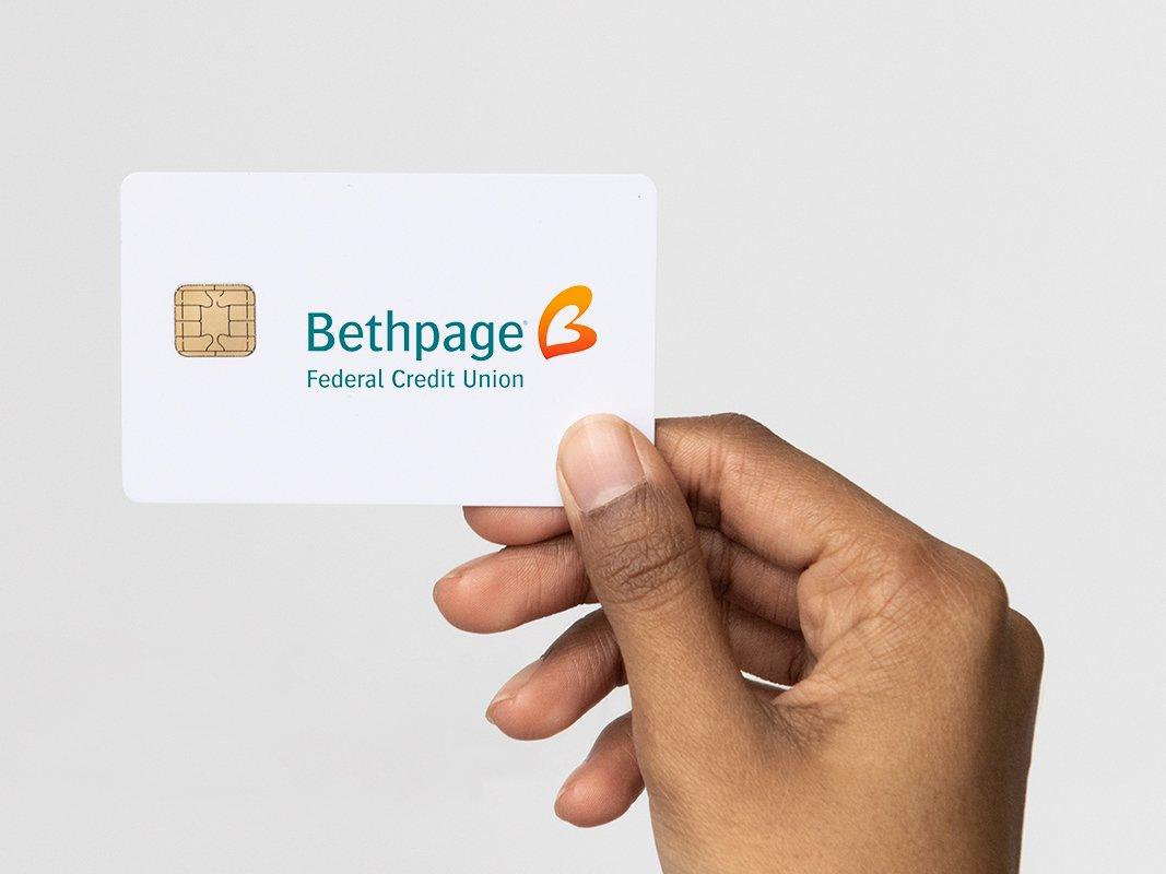 hand holding bethpage debit card