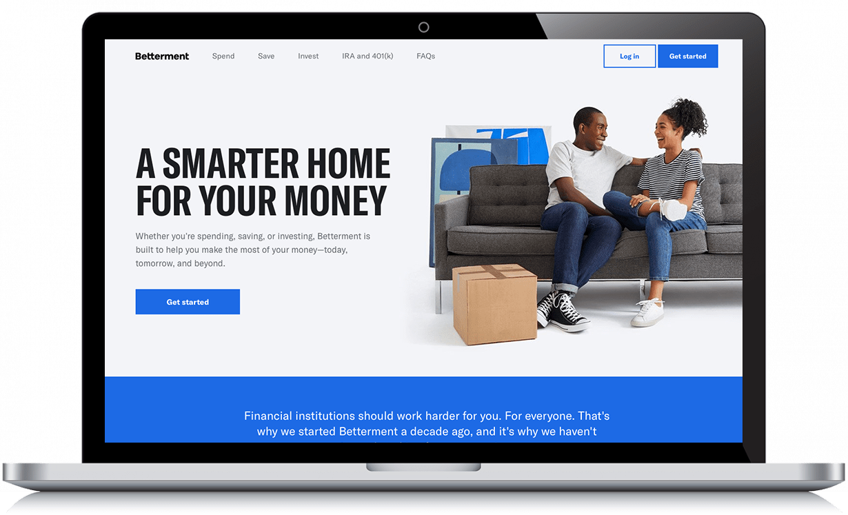 betterment homepage on laptop