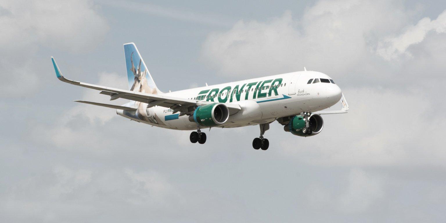 frontier airlines plane in sky