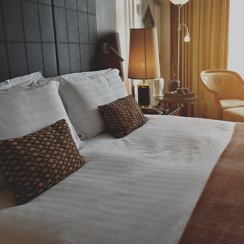 modern hotel room bed