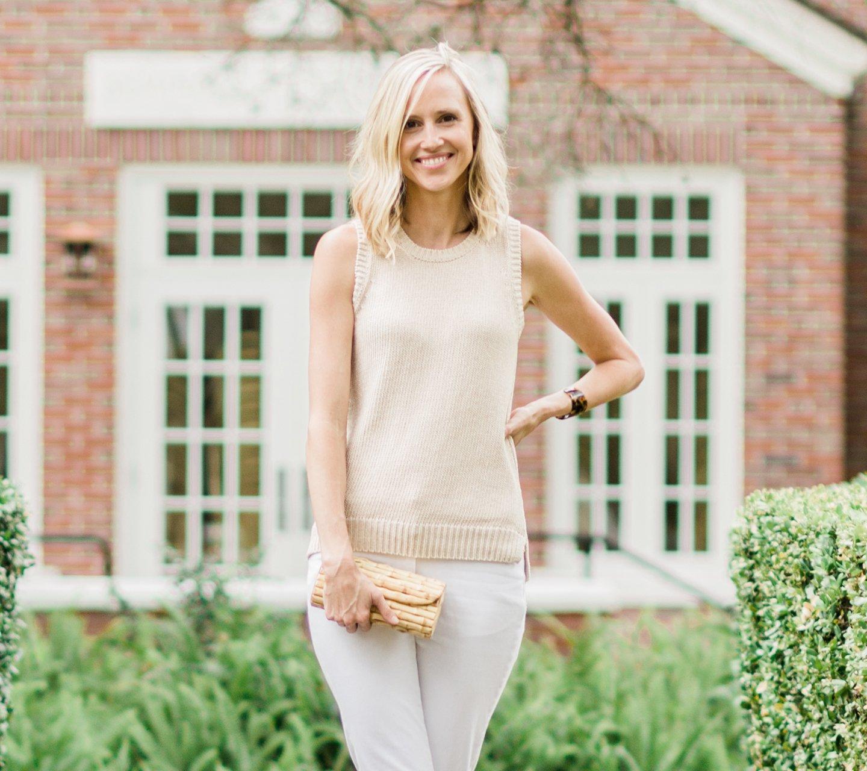 blonde woman wearing jmcglaughlin clothes
