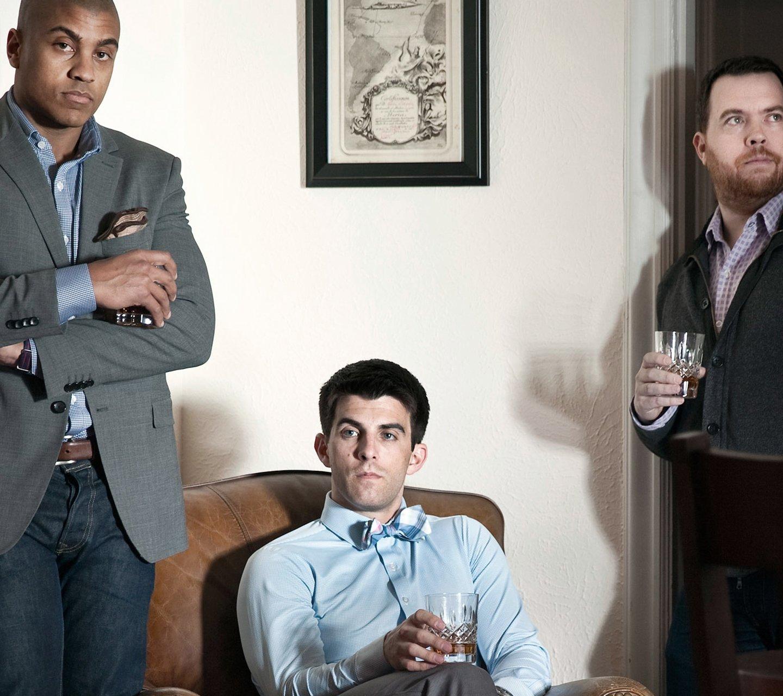 men modeling mizzen and main in lounge