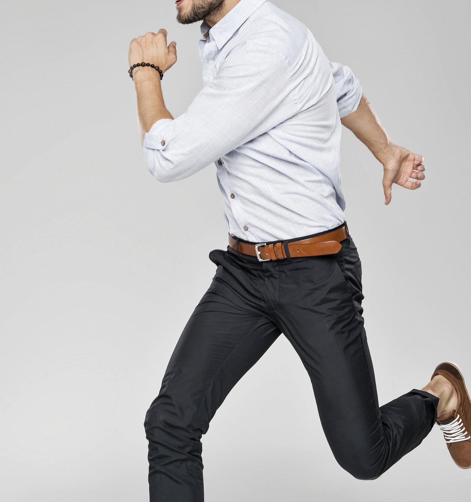 male model jumping posing