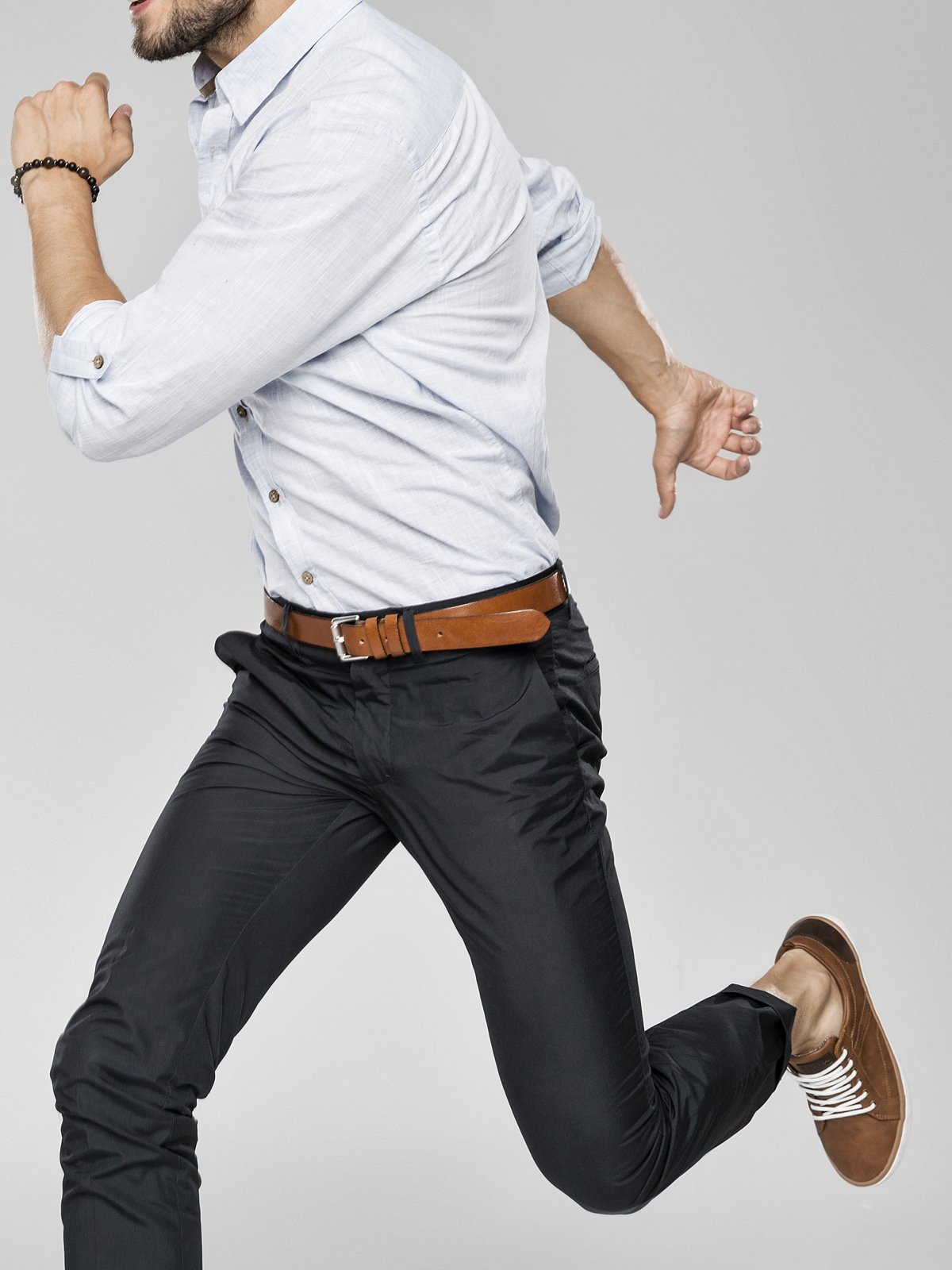 male model jumping posing