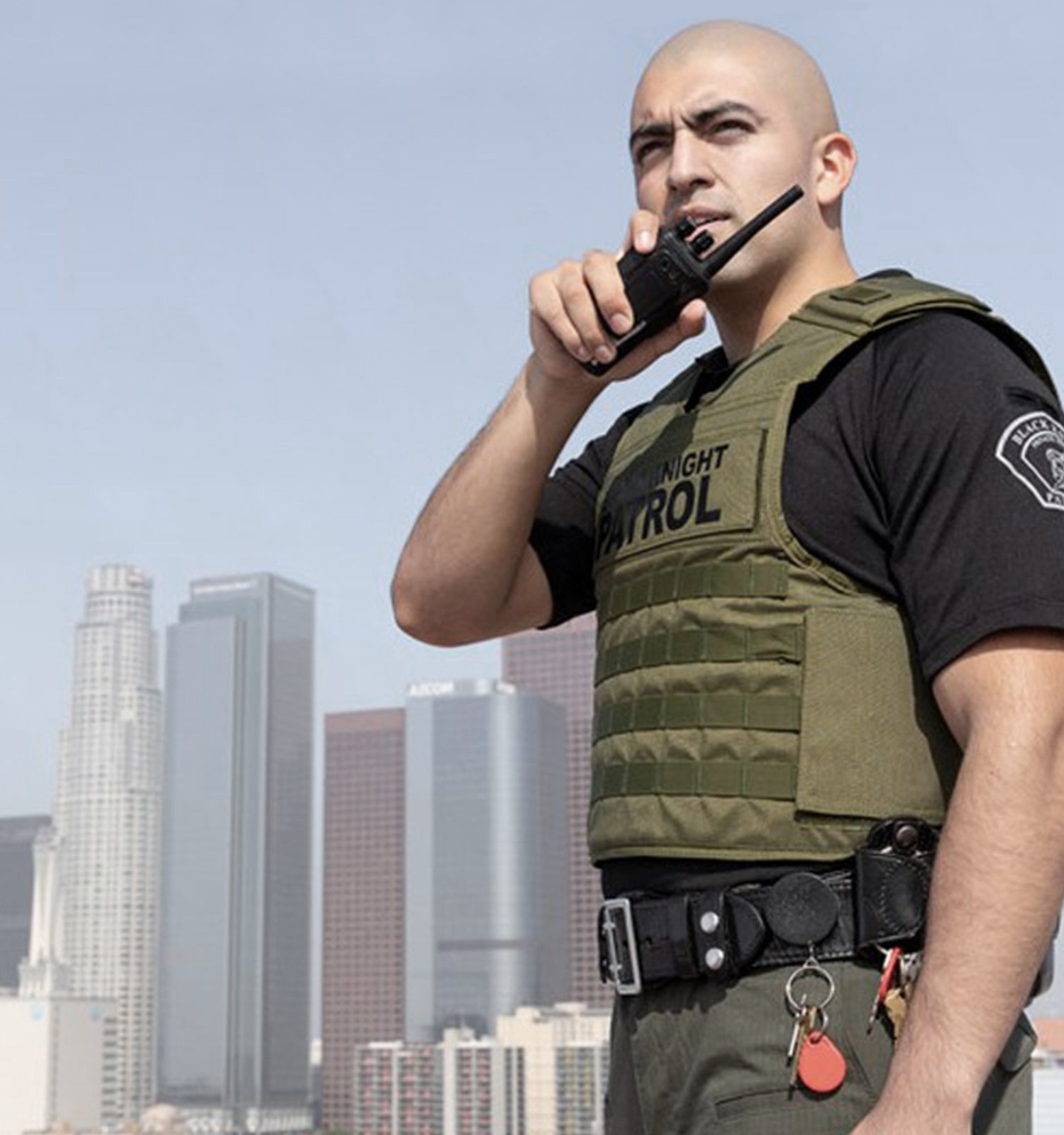 Man wearing safe life defense vest