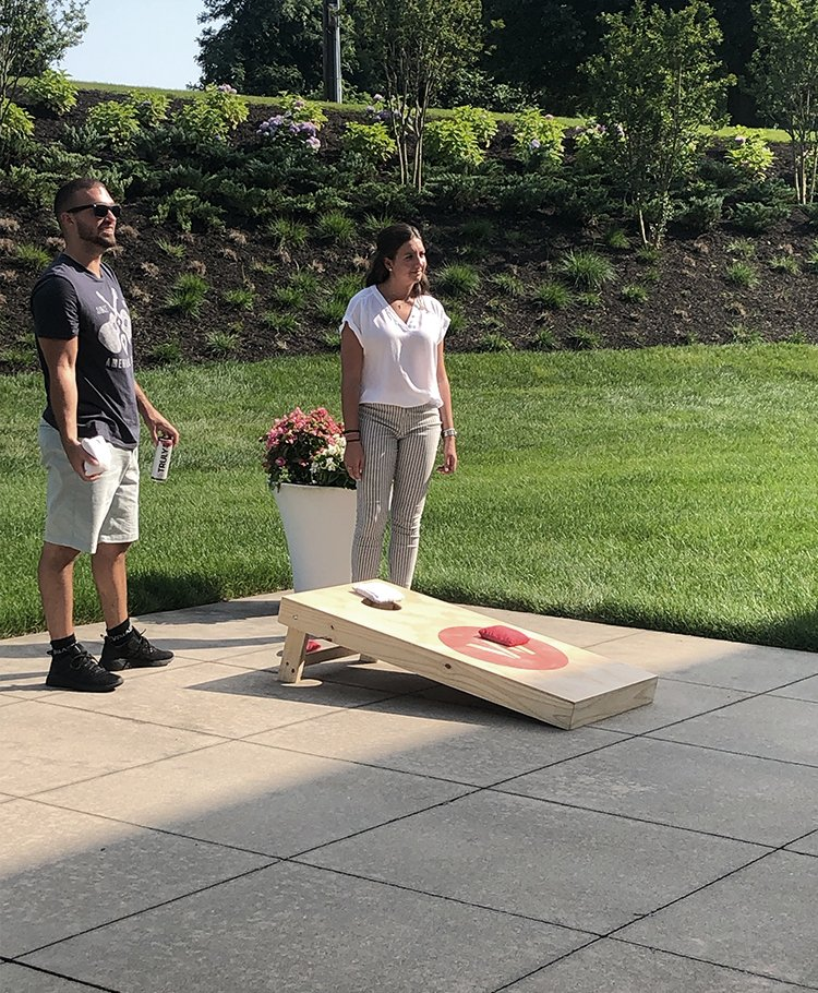 Wpromote team playing cornhole