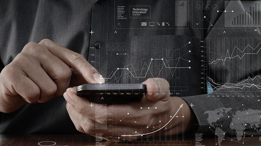 Phone with data graphics overlay