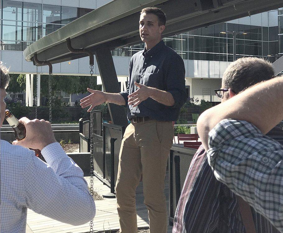 Man speaking outside