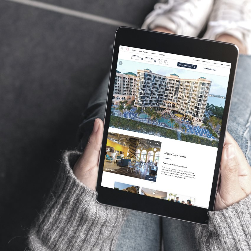 shell hotels website on tablet