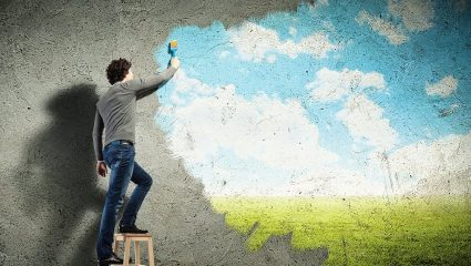 Painting a virtual scene on a wall